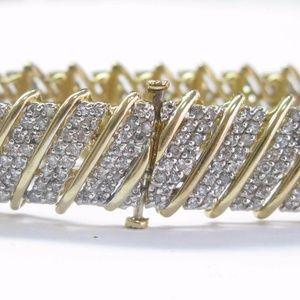 Jewelry - Fine Round Cut Diamond Yellow Gold WIDE Tennis Bra